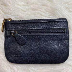 Fossil Black Leather Coin Pouch Card Holder